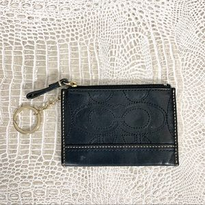Coach Women's Black Signature Coin Purse